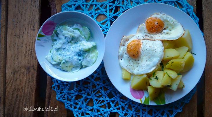 Prosty obiad- ziemniaki, jajko i mizeria